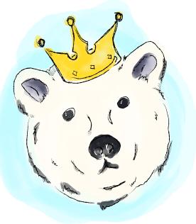 image of illustration of white bear wearing crown